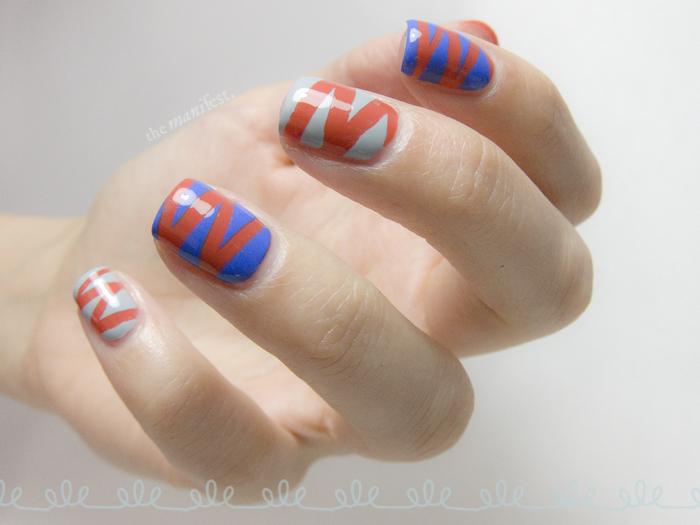 Font shaped tape manicure - Futura letter M