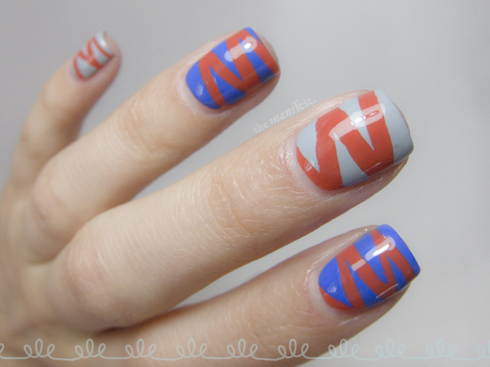 Font shaped tape manicure - Futura letter M