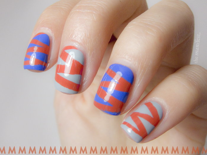 Typography tape manicure - Futura letter M