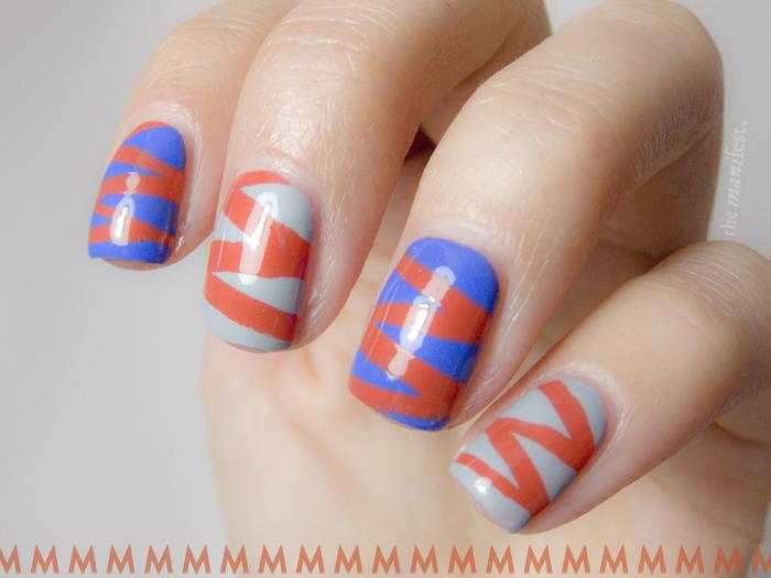 Typography tape manicure - Futura letter M